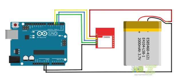 Arduino SIM800L Wiring Diagram