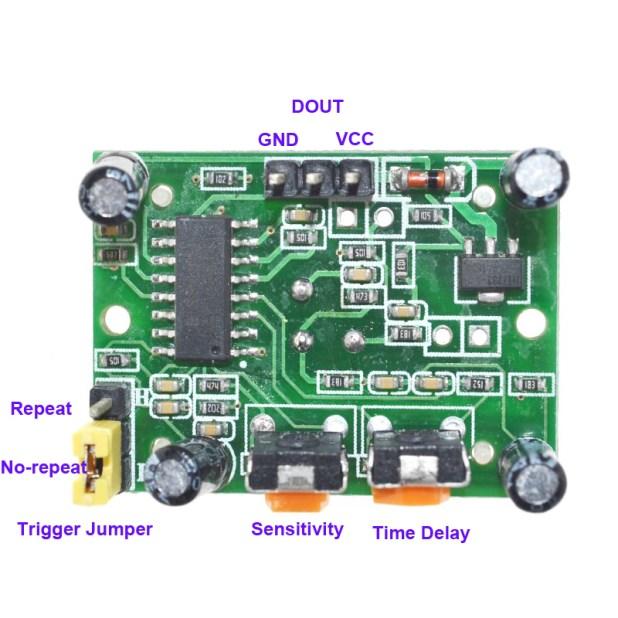 HC-SR501 PIR motion sensor underside