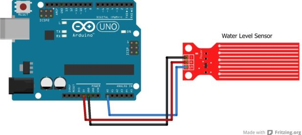 Arduino Water Level Sensor Schematic