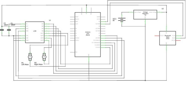 Arduino Bluetooth RC Car Schematic Diagram