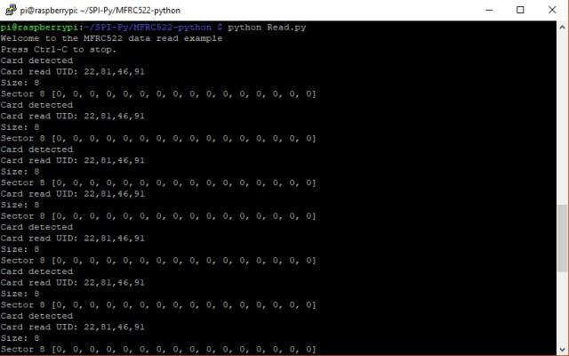 Raspberry Pi RFID Screenshot