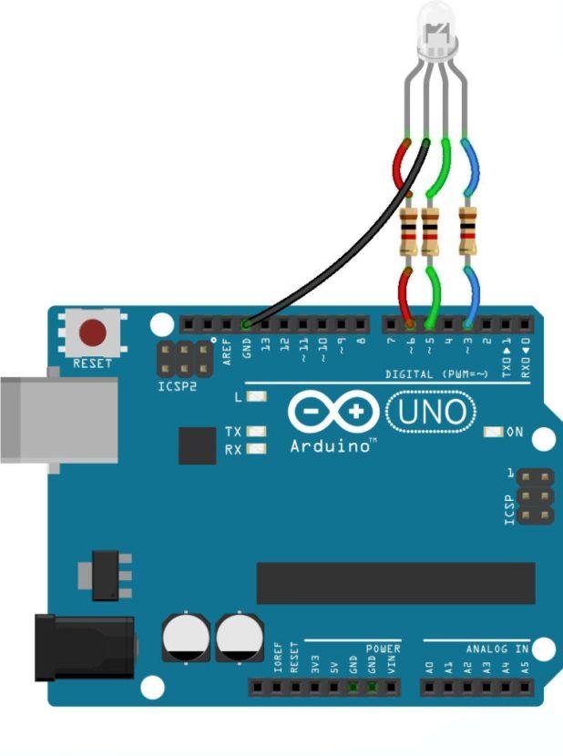 arduino RGB LED wiring common cathode
