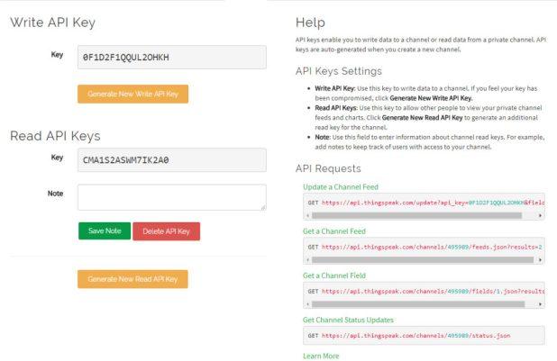 ThingSpeak API Keys