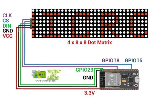 ESP32 MAX7219 WiFi Message Board Wiring