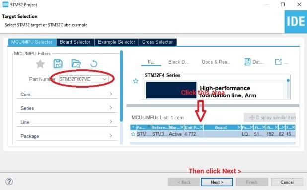 Select STM32 device