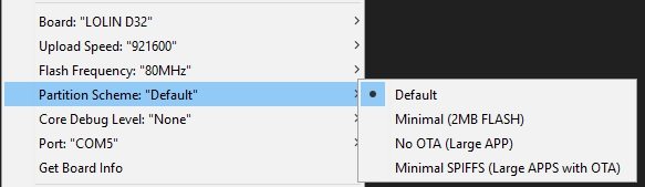 Don't Select No OTA for the partition scheme!