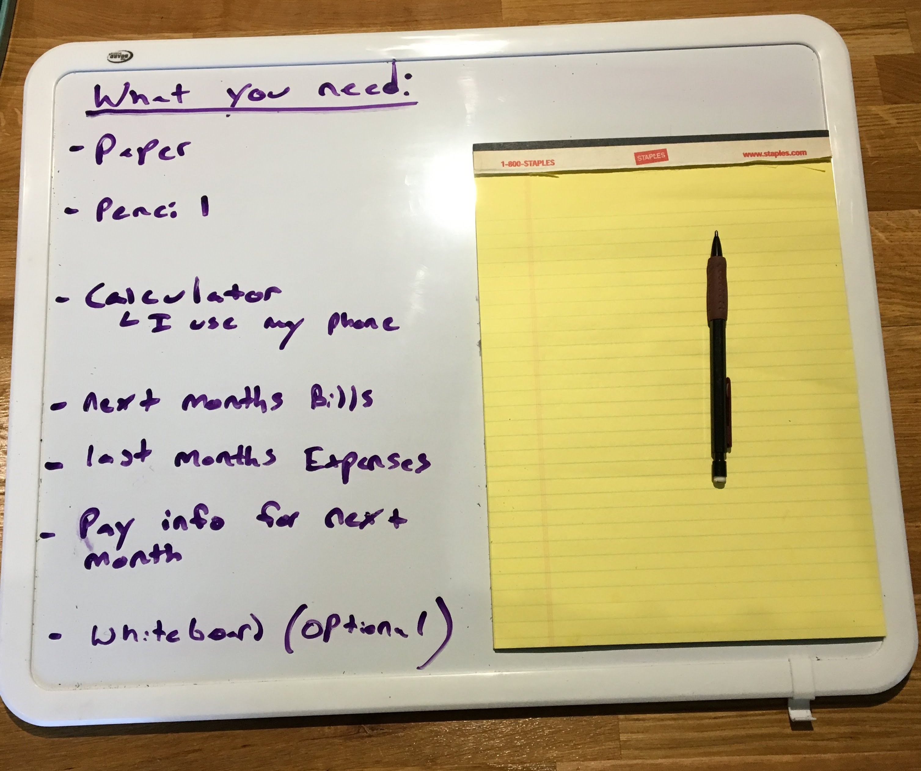 Whiteboard with list