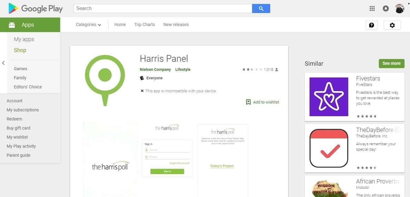 Harris Poll mobile app
