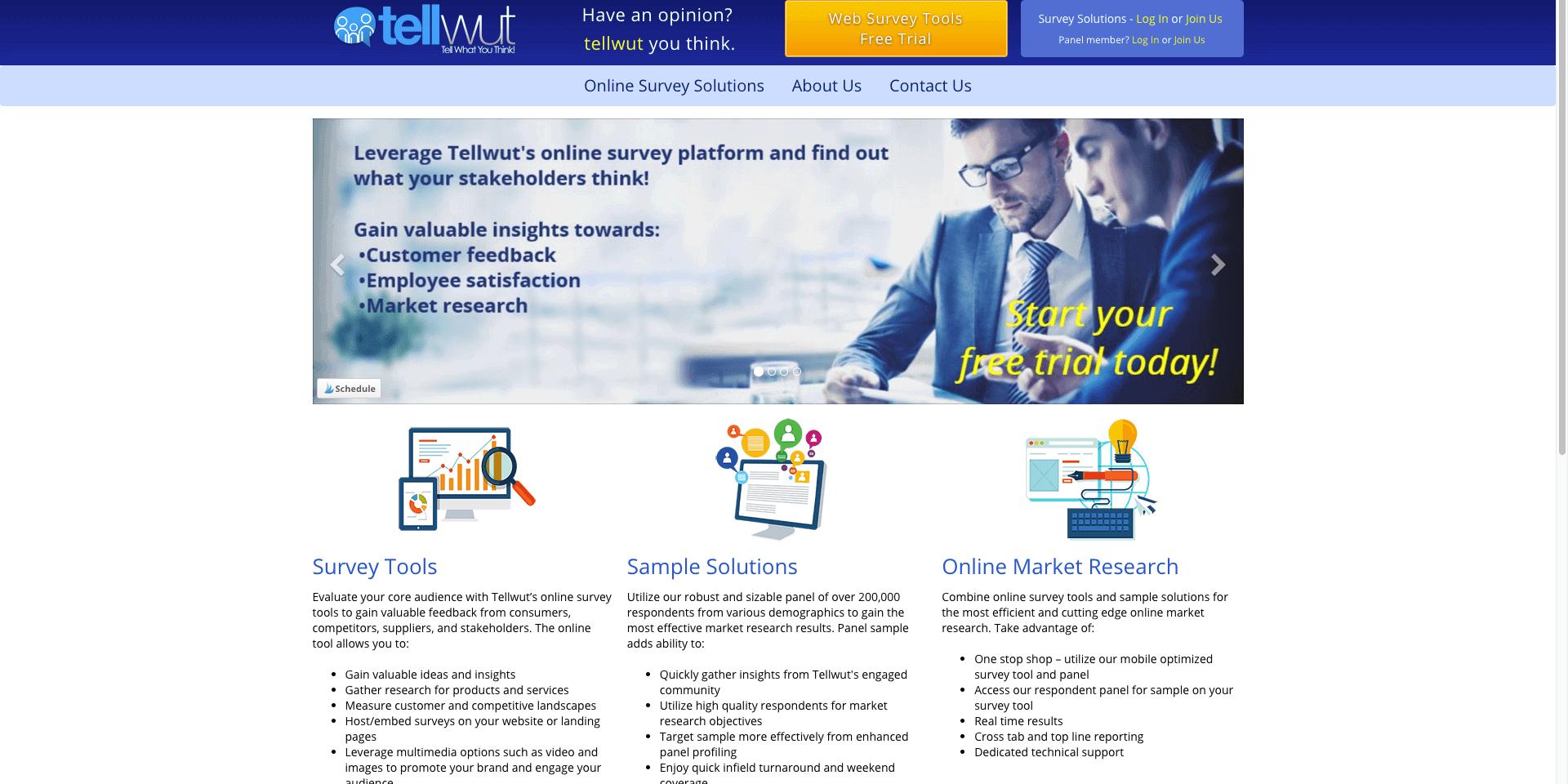 TellWut Login for online surveys