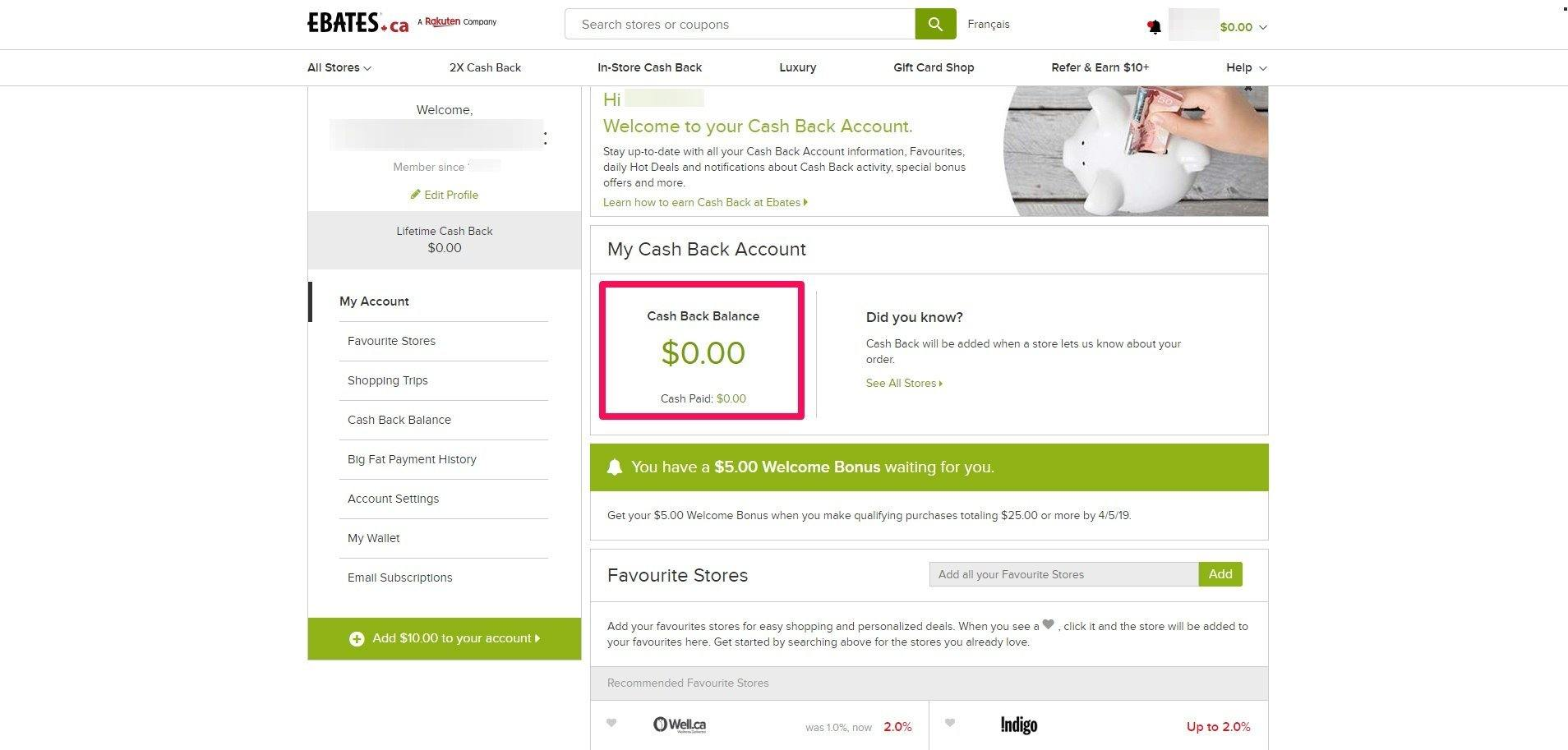 ebates cash back account