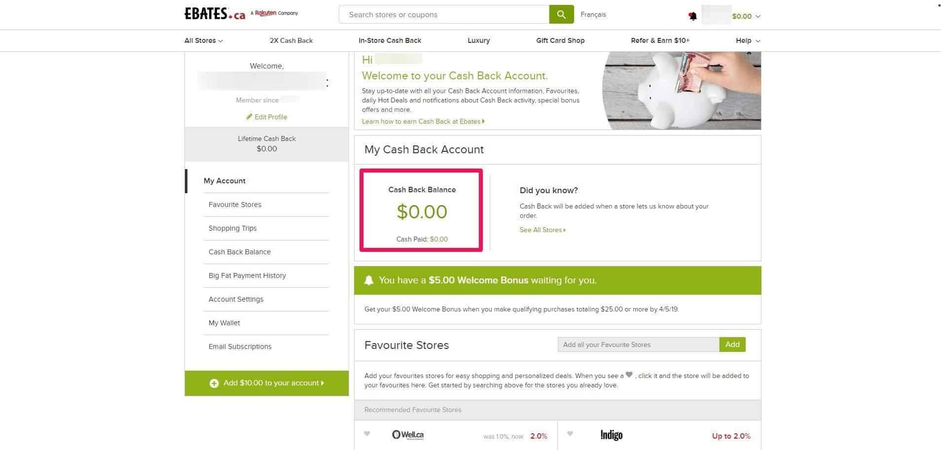 ebates cash back account
