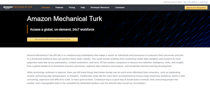 Mechanical Turk Homepage