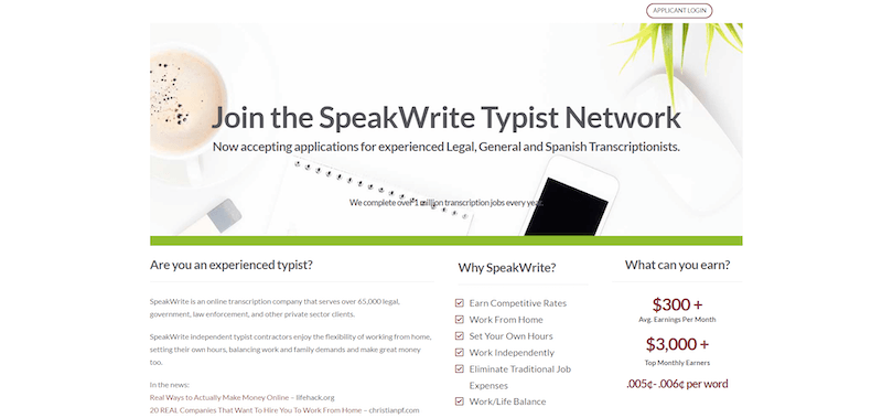SpeakWrite Homepage