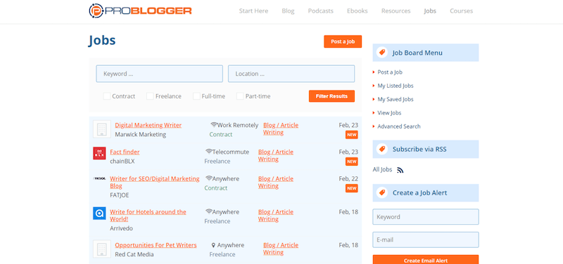 ProBlogger Online Writing Jobs