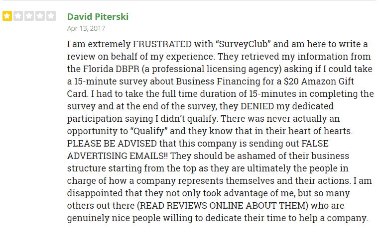Complaints about Survey Club