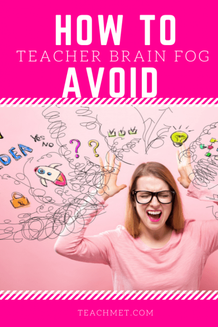 A image of a pin for the Pinterest website for this blog post. There is a hot pink background with an image a White female with her hands thrown up in the air.  Swirls and images of all of the thoughts and tasks she needs to do are floating around her.
