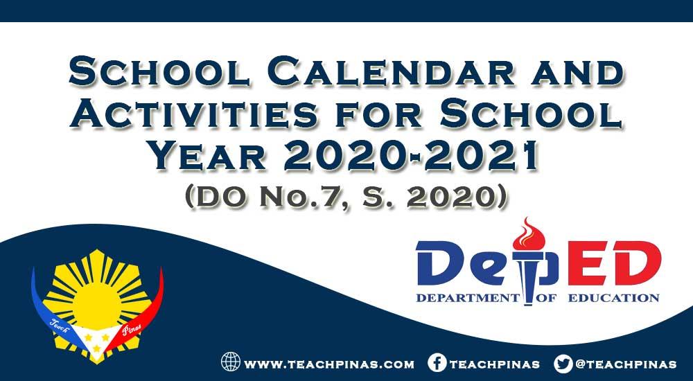 DepEd School Calendar and Activities for School Year 2020-2021
