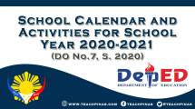 DepEd School Calendar and Activities for School Year 2020-2021