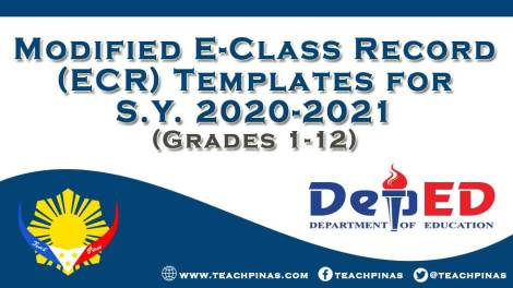 Modified E-Class Record (ECR) Templates for SY 2020-2021