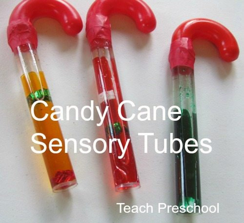 Candy cane sensory tubes for preschool