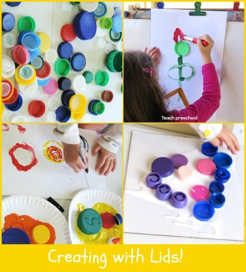 Creating with lids in preschool