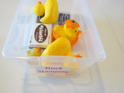 Rubber ducky stamping in preschool