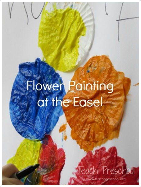 Flower painting at the easel