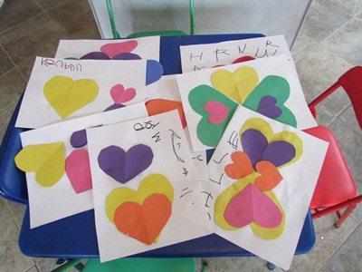 Making valentine critters in preschool