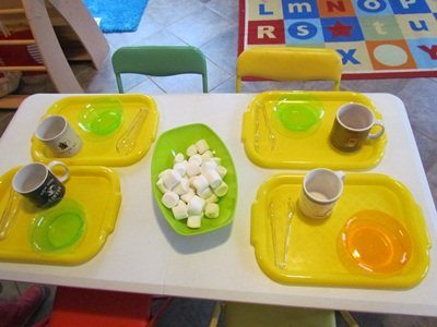 Hot cocoa play day for preschoolers