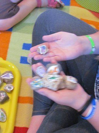 Making story stones in preschool