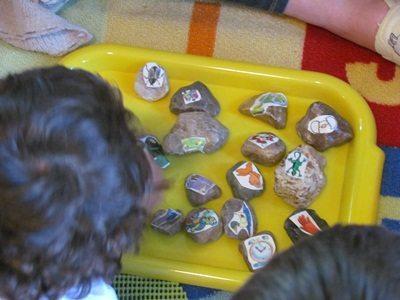 Exploring story stones in preschool