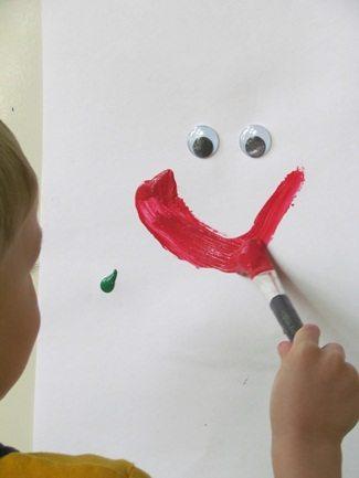 Googly-eye easel starters in preschool