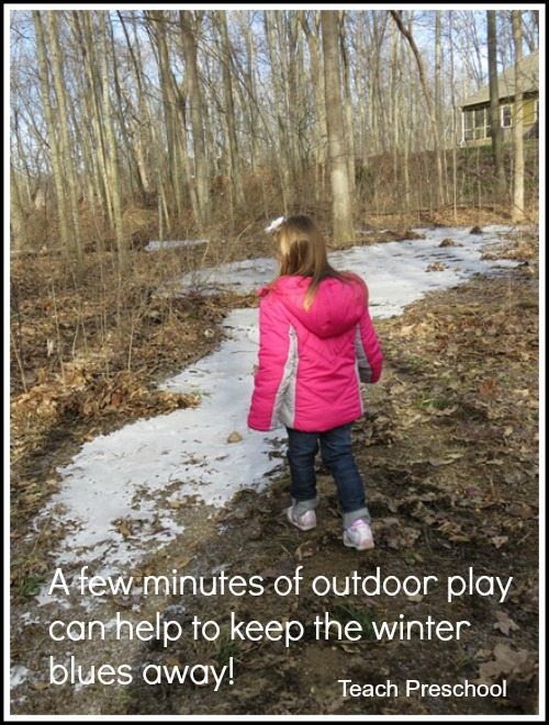 A few minutes outdoors on a cold winter day helps keep the winter blues away