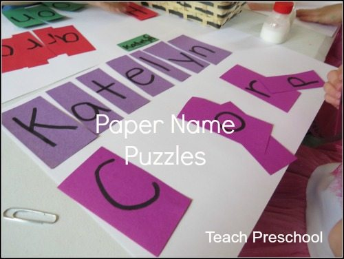 Paper name puzzle for preschool