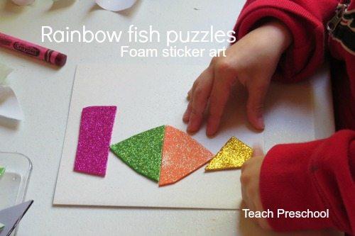 Making rainbow fish puzzles in preschool