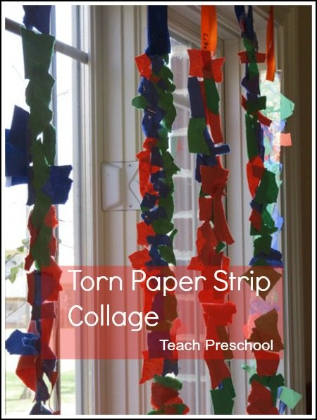 Torn paper strip sticky collage