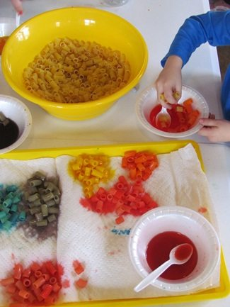 Making our own beads in preschool