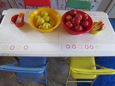 Making apple patterns in preschool