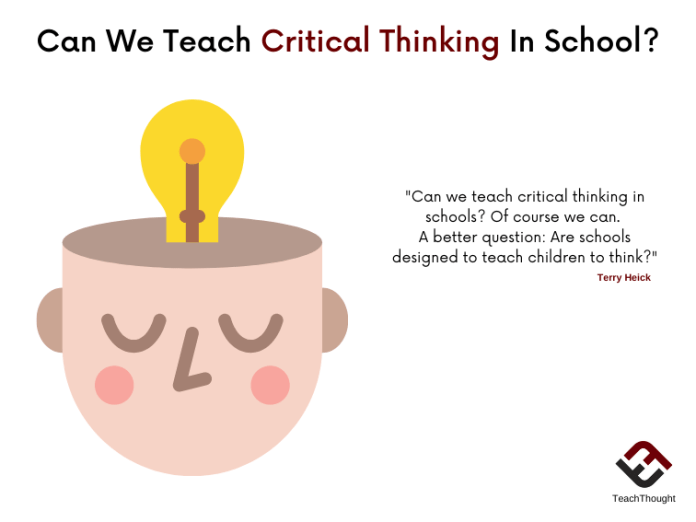 Can We Teach Critical Thinking In School?