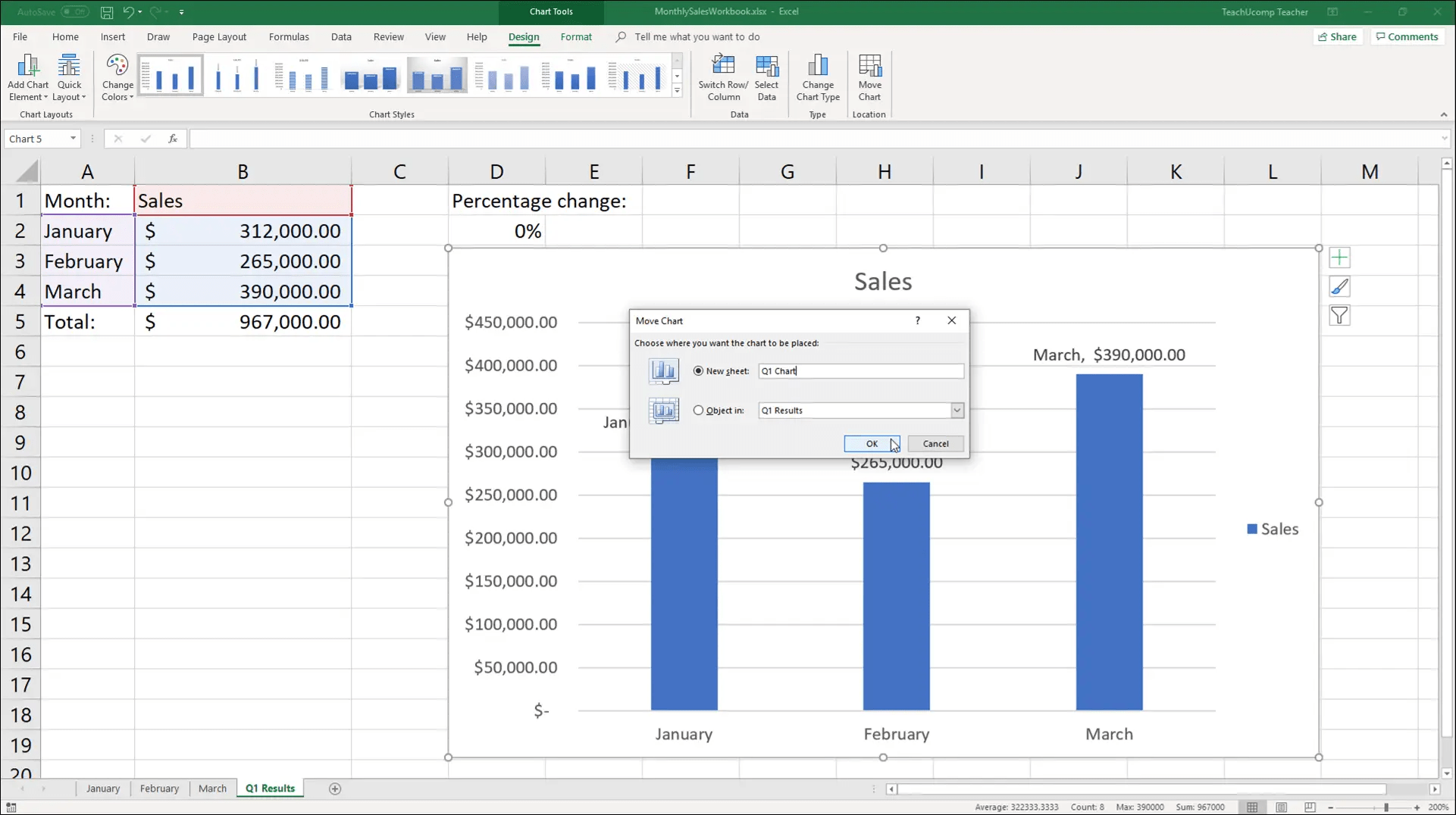 Move A Chart In Excel Instructions