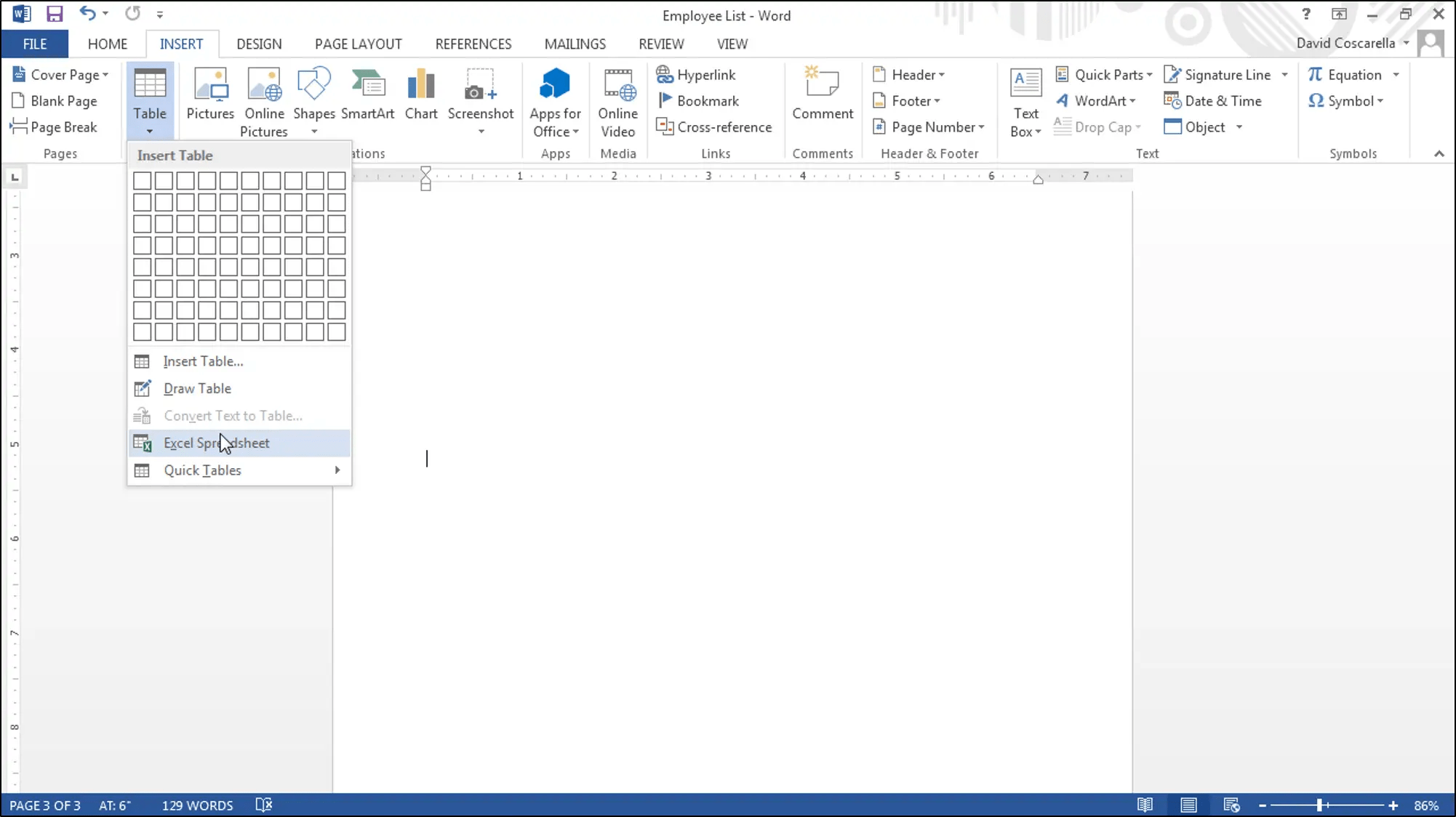 Insert An Excel Worksheet Into A Word Document
