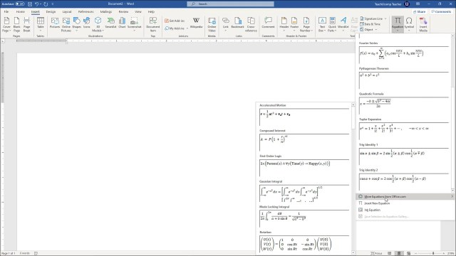 Insert Equations in Word - Instructions and Video Lesson