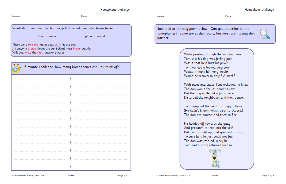 Homophones Worksheets For Grade 5