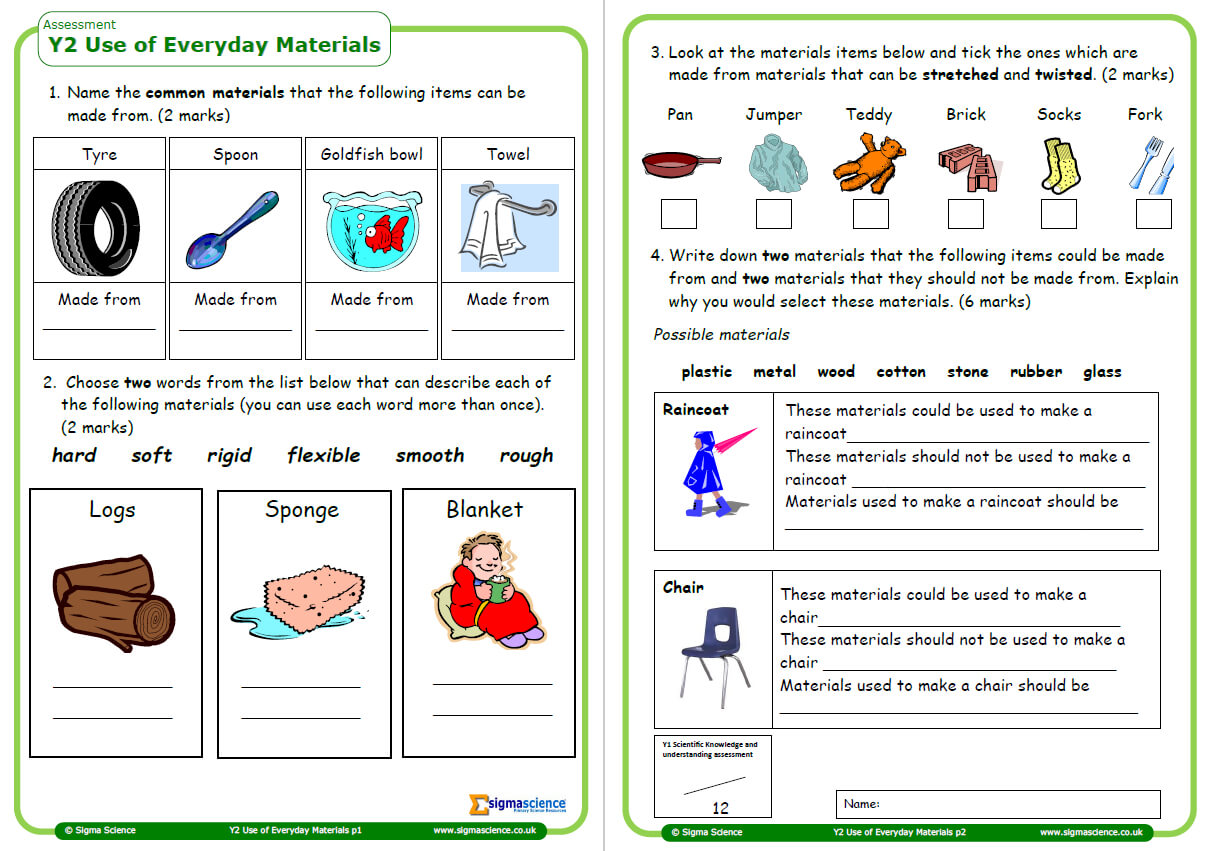 Year 2 Science Assessment Worksheet With Answers