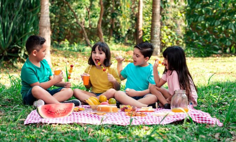 Kids having a healthy picnic