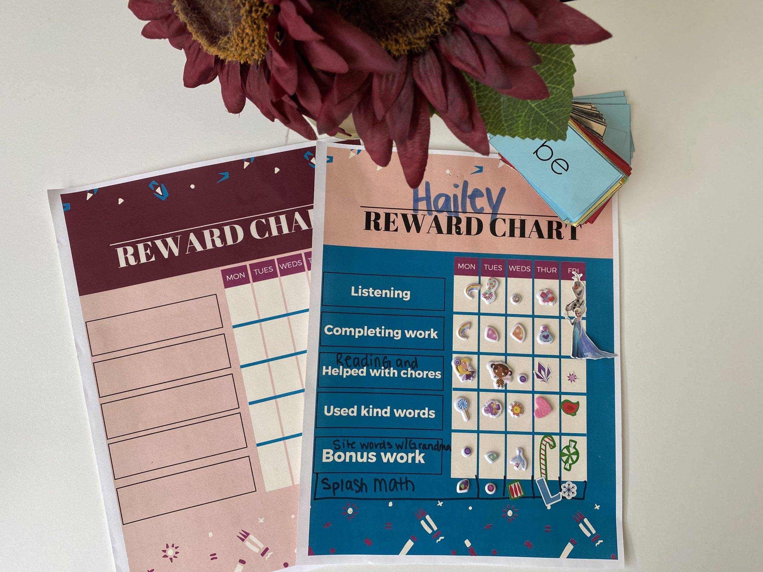 downloadable and printable reward chart for kids