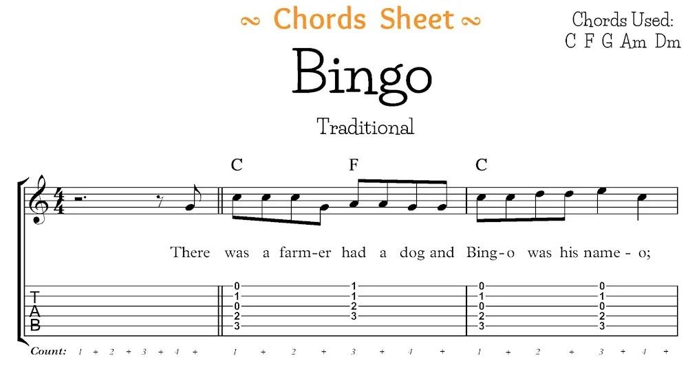 Bingo Chord Sheet Segment