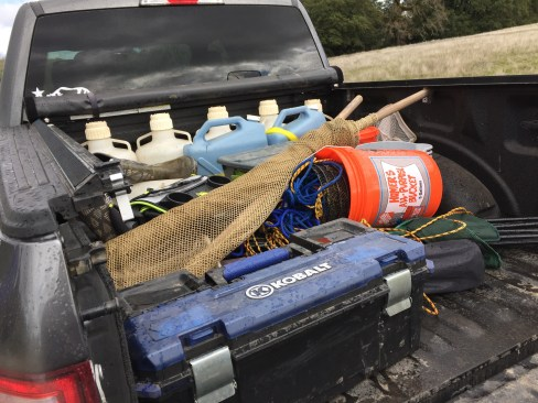 And of course, it's not field biology without a truck full of equipment! (Not really, but sometimes equipment is useful)