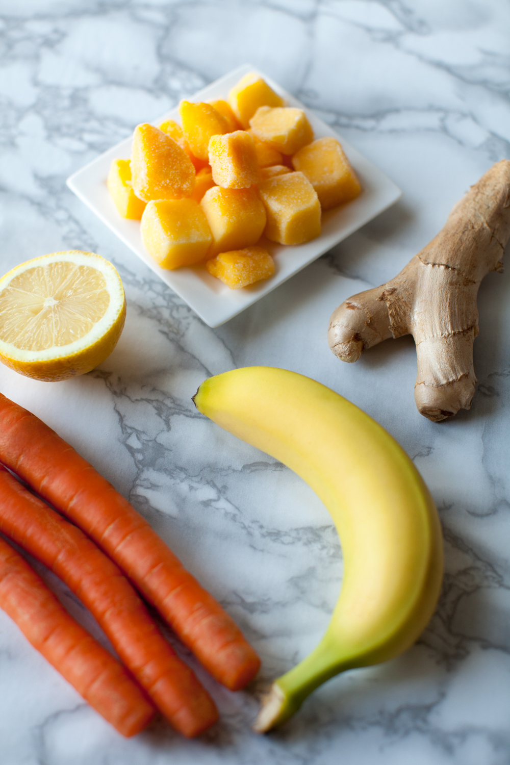 ingredients for carrot mango smoothie