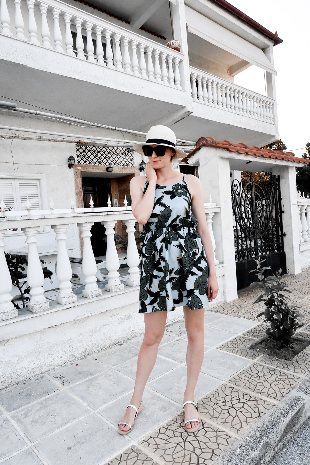 tropical prints in greece outfit